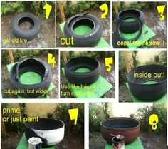 repurposed+tires   Amazing repurposing of an old tire into a huge planter!