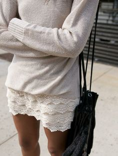 Making a lace skirt very casual . .  <3