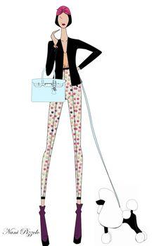 www.nanipizzolo.wordpress.com -Fashion design, style, sketch, croqui, fashion illustration, hermés, dog, bag. Nani Pizzolo