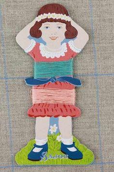 Embroidery Floss holders Sajou Little Girl Thread Cards