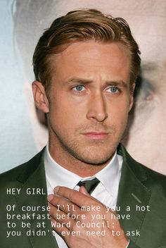 Hey girl. Of course I'll make you a hot breakfast before you have to be at ward council. You didn't even have to ask.