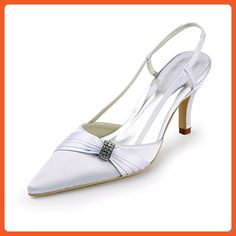 Minishion TMZ339 Women's Slingback White Satin Bridal Wedding Evening Formal Party Pumps Shoes US Size 5 - Pumps for women (*Amazon Partner-Link)