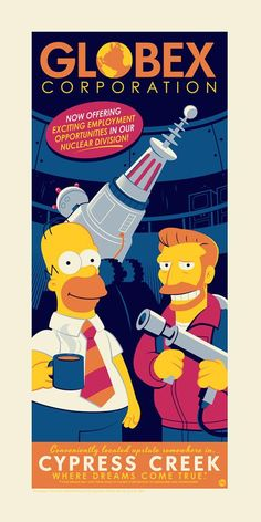 """SDCC 2018 Exclusive The Simpsons """"Globex Corporation"""" Screen Print by Dave Perillo x Acme Archives Simpsons Cartoon, Cartoon Art, Duff Beer, Simpsons Drawings, Dark Ink, Pop Culture Art, San Diego Comic Con, Futurama, Pin Up Art"""