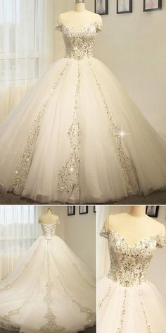 Tulle Off-the-shoulder Neckline Ball Gown Wedding Dress With Beaded  Embroidery 6e09221dd2