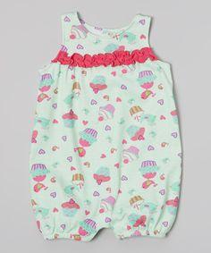 Peanut Buttons Aqua Cupcake Ruffle Romper - Infant by Peanut Buttons #zulily #zulilyfinds