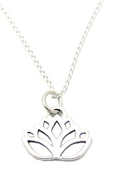 """Sterling Silver Lotus Flower Charm, Sterling Silver Necklace 18"""", Yoga Jewelry, Lotus Jewelry Heart Projects http://www.amazon.com/dp/B005H0CF56/ref=cm_sw_r_pi_dp_1s33ub0VHYH9H"""