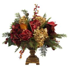 Add a natural touch to your dinner table or sideboard with this faux cedar and hydrangea arrangement, featuring fruit and ribbon accents.  ...