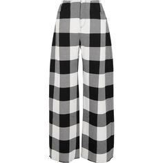 Marques' AlmeidaChecked Wool-gabardine Wide-leg Pants (€610) ❤ liked on Polyvore featuring pants, black, wool gabardine pants, wide leg trousers, checked pants, wool pants and wool gabardine trousers