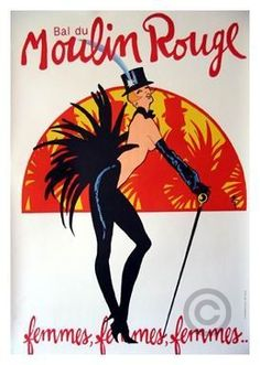 Bal Moulin rouge Femmes Femmes Small size poster by Gruau