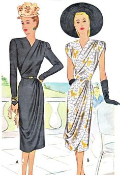 Evening Dress Pattern McCall 6933 Surplice Bodice Dress with Draped Skirt Womens Vintage Sewing Pattern Bust 34 Uncut Supernatural Style 1940s Evening Dresses, Evening Dress Patterns, Vintage Dress Patterns, 1940s Dresses, Short Dresses, Fashion Moda, 1940s Fashion, Vintage Fashion, Fashion Fashion