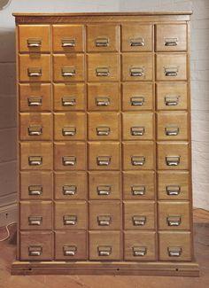 Old Oak Large Index Card Cabinet 40 Drawers