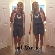 One romper. Two ways. Go grab this cute #modest acid washed denim layered with a long #kimono from @trendiechix in store or online @ www.trendiechixboutique.com #luxewise #lwoutfits #loves #trendiechix #ootd #romper #instafashion #instablogger #sahm #sahmstyle #sahmfashion #summer #wiw #wearitwednesday