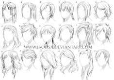 Various Male Anime/Manga-Hairstyles (fullview please!) After drawing 50 Female Anime/Manga-Hairstyles in June of this year I've told several people who . Various Male Anime+Manga Hairstyles Drawing Female Body, Guy Drawing, Manga Drawing, Types Of Art Styles, Different Art Styles, Character Design Cartoon, Character Drawing, Hair Reference, Drawing Reference