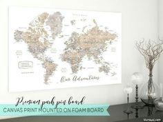 Anniversary gift, husband gift, travel lover gift, push pin map, push pin canvas pinboard, map push pinboard, travel pinboard, world map pinboard