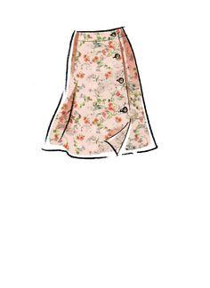 Side button skirt has length variations, C: ruffle hemline. Fashion Drawing Dresses, Fashion Illustration Dresses, Fashion Sketches, Drawing Fashion, Mccalls Sewing Patterns, Vogue Patterns, Dress Design Drawing, Fashion Design Portfolio, Dress Sketches