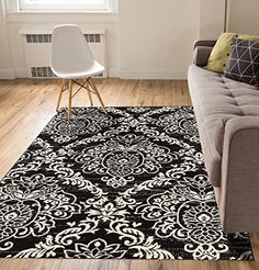 Delicate Damask Black Oriental Geometric Modern Casual Lattice Area Rug 2x4  23 x 311  Stain Fade Resistant No Shed Contemporary Traditional Moroccan Trellis Floral Living Dining Room -- Details can be found by clicking on the image. (This is an Amazon Affiliate link and I receive a commission for the sales)