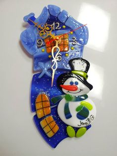 fused glass clock winter house with snowman