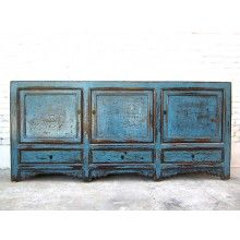 Asien breite Kommode Sideboard 200cm antik azurblau shabby chic