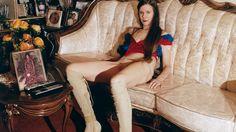Susanne wears silk blouse Vivienne Westwood, underwear Intimissimi, boots Luar Zepol