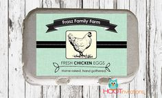 Custom Egg Carton Labels to print at home by HOOT invitations  https://www.etsy.com/shop/HOOTinvitations#eggcartonlabel  #backyardfarming  #keepingchickens