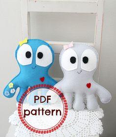 Felt octopus toy pdf pattern by Plushka