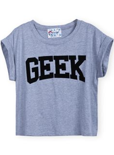 Shop Grey Short Sleeve GEEK Print Crop T-Shirt online. Sheinside offers Grey Short Sleeve GEEK Print Crop T-Shirt & more to fit your fashionable needs. Free Shipping Worldwide!