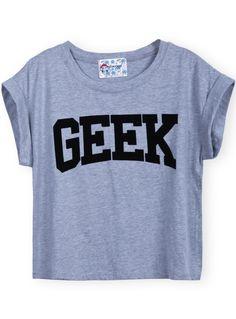 Camiseta crop estampada GEEK-Gris $MXN267.72