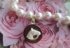 Ralph Lauren Style Vintage Horse Equestrian Bakelite Wood Cameo Necklace Pendant at www.lechicdame.com