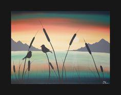 Peinture acrylique abstrait toile originale enchanté mélodie Sunset Sunrise Love Birds Lake montagnes chanson Teal corail Orange Blue Water