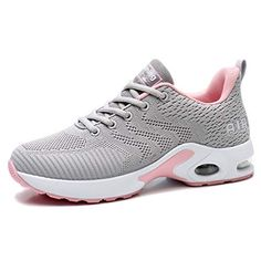Femme Baskets Fille Fitness Chaussures Outdoor Running Gym Sport Sneakers Lacets Plate Noir Rose Taille 40 EU