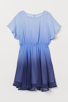 Dress in semi-sheer woven fabric with a round neckline and short butterfly sleeves. Opening at back of neck with button, narrow elasticized seam at waist, a Cute Girl Outfits, Cute Casual Outfits, Pretty Outfits, Stylish Outfits, Indian Fashion Dresses, Girls Fashion Clothes, Teen Fashion Outfits, Stylish Dresses, Cute Dresses