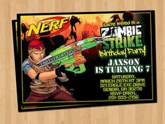 Nerf Zombie Strike Party Invitation. Personalized Nerf Birthday Invite with photo 4x6 JPEG FILE (email delivery)