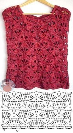 Shawl Crochet, Débardeurs Au Crochet, Pull Crochet, Gilet Crochet, Mode Crochet, Crochet Shirt, Crochet Diagram, Crochet Woman, Crochet Crafts