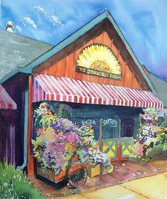 Johnson's Corner Farm, Medford, NJ, watercolor, private collection