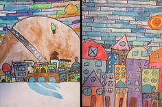 PAISAJE: Dibujos realizados a partir de cuadrados, rectángulos, círculos... Técnica: cera blanda de color negro y acuarelas. (5º EP). Colegio Alameda de Osuna.