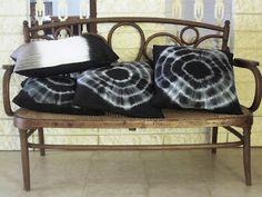 Black tie dye pillows.