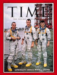 Astronauts Gus Grissom/ Edward White/ Roger Chaffee in front of the launch pad, 1967. They were to pilot the first manned Apollo mission. Tragically, during launch pad testing, a fire would asphyxiate them. The mission was originally designated the Apollo 204, but was renamed Apollo 1 in their recognition