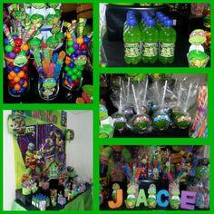 Ninja turtle candy buffet #Greencandyapples #HawaiianPunch #rockcandy #gumballs