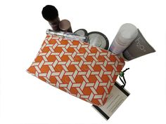 Small Basketweave Orange, Red, Ivory Makeup Pouch - Waverly Fabrics Shoji - Fabric Cosmetic Bag - Female Accessory Pouch - Wife Gift Idea by TalfourdJones on Etsy