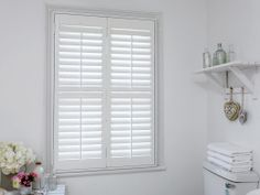 Bathroom Window Blinds B&Q home™ faux-wood plantation shutters with mid-rail - 2 panels