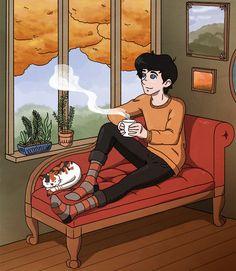 Una fumante tazza di tè per scaldare le mani, un #gatto che sonnecchi tranquillo accanto a sé , un bel panorama: mancherebbe un appassionante libro da leggere ed il mio pomeriggio ideale sarebbe completo! #gatti