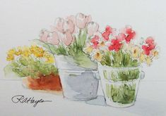 Flower Shop Watercolor Painting Floral Original by RoseAnnHayes, $19.00