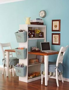 This is what I am thinking about for the dining room/ Anton's loft... taking a book shelf.. one side a loft... the other a fold out dining room table with shelf storage.   Nice use of little space, a little out of the way for me though.