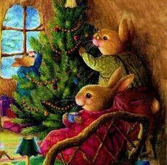 It's so exciting to buy a Christmas tree & get it into the house. Christmas World, Christmas Pictures, Christmas Art, Vintage Christmas, Bunny Painting, Bunny Drawing, Susan Wheeler, Rabbit Art, Christmas Illustration