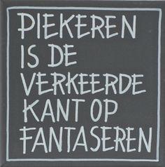 Kiz Canvas - Piekeren is ...   Kiz Canvas tekst schilderijen   Label 123