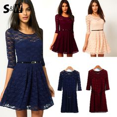 Hot Sale! 2014 New Women Summer Casual Dresses Sexy Spoon Neck 3 Colors 5 Sizes Three Quarter Sleeve Skater Lace Dress With Belt-in Dresses from Apparel & Accessories on Aliexpress.com | Alibaba Group.