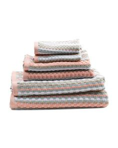 Made In India 6pc Waffle Check Towel Set