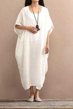 f307679c125 Original vintage loose solid colors cotton linen dress for female summer long  gown   robe dress plus size