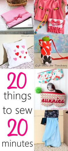 """""""20 Super Cute 20 Minutes Sewing Projects. What if you JUST had 20 minutes to sew a gift for someone! Oh my, that's too less. But no worries, here you can find 20 super easy tutorials for projects that you can sew in 20 minutes or LESS. My favourite is the sanitary napkin pouch, which I used as gift bags to fill with pocket make-ups for my nieces. Check them all out NOW! """""""