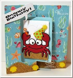 Frances Byrne using the Pop it Ups Rectangle Pull Card, Rocky the Crab, Props2, Beach Edges and the speech bubble form the Rectangle Accordion die sets by Karen Burniston for Elizabeth Craft Designs. - Karen Burniston January Designer Challenge Day 2